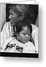 White Mountain Apache Elder And Granddaughter Rodeo White River Arizona 1970 Greeting Card
