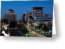 Wichita Skyline At Dusk From Waterwalk Greeting Card