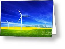 Wind Turbines On Spring Field Greeting Card