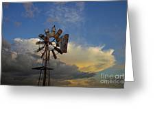 Windmill And Clouds Greeting Card
