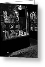 Window Display Night Of Elvis Presley's Death Recordland Portland Maine 1977 Greeting Card