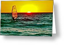 Windsurfer At Sunset On Lake Michigan From Empire-michigan  Greeting Card