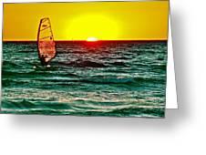 Windsurfer At Sunset On Lake Michigan From Empire-michigan  Greeting Card