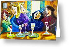 Wine Buddies The Last Call Greeting Card by Angela Nuttle