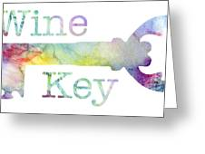 Wine Key Watercolor Greeting Card