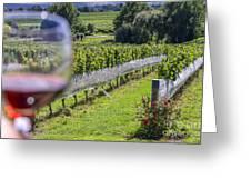 Wineglass In Vineyard Greeting Card
