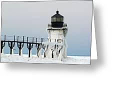 Winter At St Joseph's Light Greeting Card