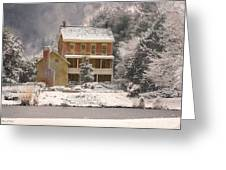 Winter Farm House Greeting Card