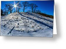 Winter Scinery In The Mountains With Bllue Sky And Sunshine Greeting Card