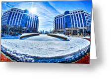 Winter Street Scenes Around Piedmont Town Centre Charlotte Nc Greeting Card