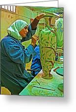 Woman Artisan At Mosaic School In Madaba In Jordan  Greeting Card