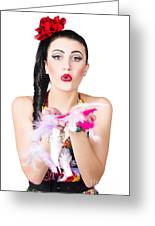 Woman Blowing Feathers Greeting Card