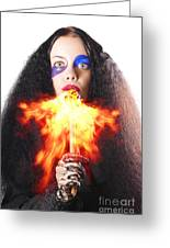Woman Breathing Fire From Mouth Greeting Card