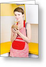 Woman Drinking Coconut Milk In Kitchen Greeting Card