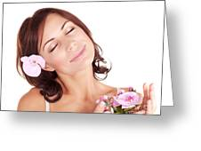 Woman Enjoying Dayspa Greeting Card