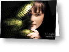 Woman Hiding Behind Fern Leaf Greeting Card