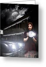 Woman Holding Clock Greeting Card