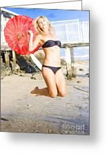 Woman In Bikini Jumping Greeting Card