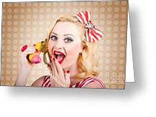 Woman On Banana Telephone. Health Eating News Greeting Card