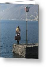 Woman On Jetty Greeting Card