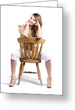 Woman Posing On Chair Greeting Card