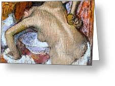 Woman Sponging Her Back Greeting Card