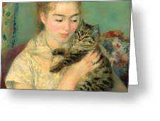 Woman With A Cat Greeting Card