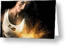 Woman With Angle Grinder Spraying Sparks Greeting Card