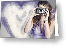 Woman With Camera. Love In A Still Frame Capture Greeting Card
