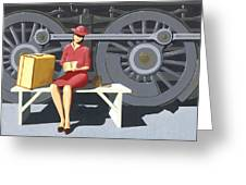 Woman With Locomotive Greeting Card