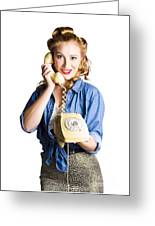 Woman With Retro Telephone Greeting Card