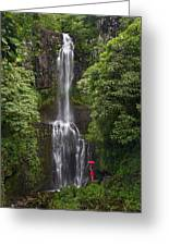 Woman With Umbrella At Wailua Falls Greeting Card