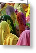Women In Colorful Saris Gather Greeting Card