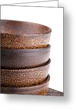 Wooden Bowls Isolated Greeting Card