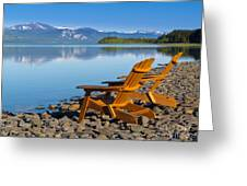 Wooden Deckchairs Overlooking Scenic Lake Laberge Greeting Card