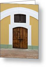 Wooden Door At El Morro Historical Site Greeting Card
