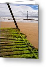 Wooden Slipway Rhos On Sea Greeting Card