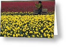 Worker Carrying Tulips Greeting Card