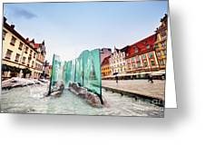 Wroclaw Poland The Market Square With The Famous Fountain Greeting Card
