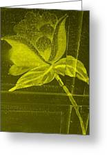 Yellow Negative Wood Flower Greeting Card
