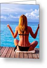 Yoga Exercise On Seashore Greeting Card