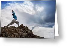 Yoga On Mountain Greeting Card