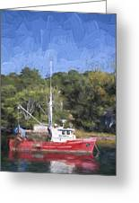 York Harbor Maine Painterly Effect Greeting Card