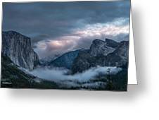 Yosemite In Clouds Greeting Card