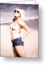 Young Attractive Travel Woman At Beach Greeting Card