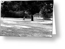 Young Boys Playing Cricket In A Park Near Delhi Zoo Greeting Card