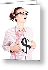 Young Businesswoman Super Hero Showing Dollar Sign Greeting Card