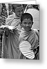 Young Monks Bw Greeting Card