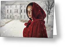 Young Woman Wearing Hooded Cape In Snowy Winter Scene Greeting Card