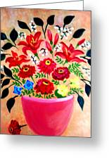Zinnias And Lilies Greeting Card